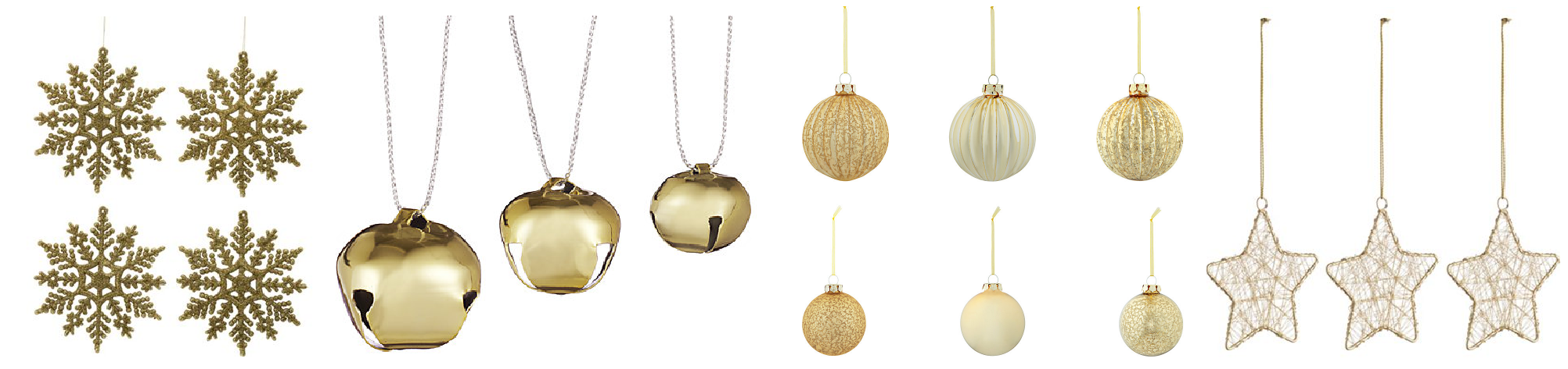 Glittering Gold Christmas Decorations